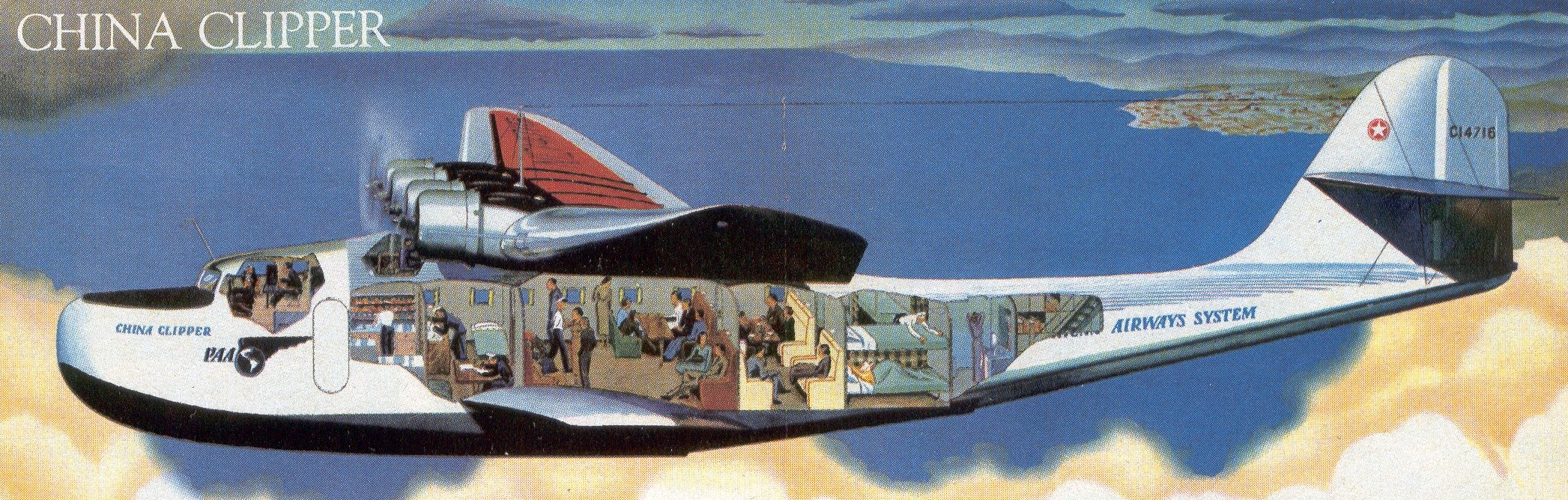 1930s Cut-a-way of the Martin M130 in-flight.