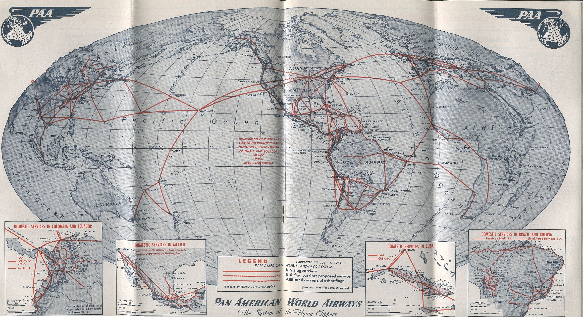Pan Am History S - Route map us airways