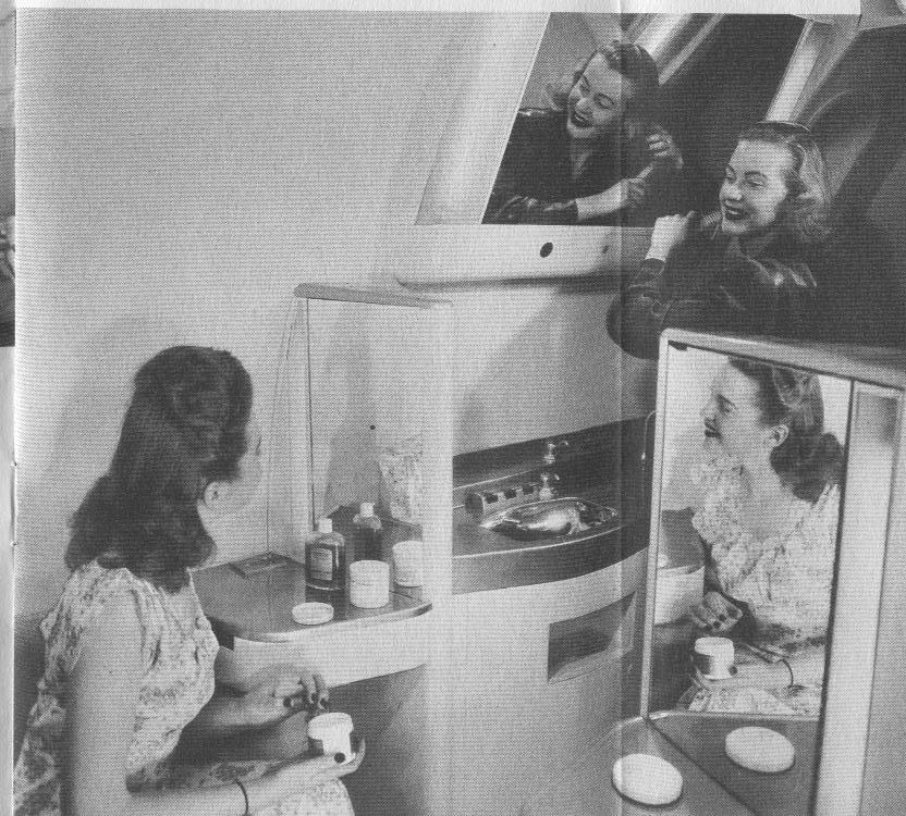 1950s The spacious ladies restroom and lounge on a Pan Am Boeing 377 Stratocruiser