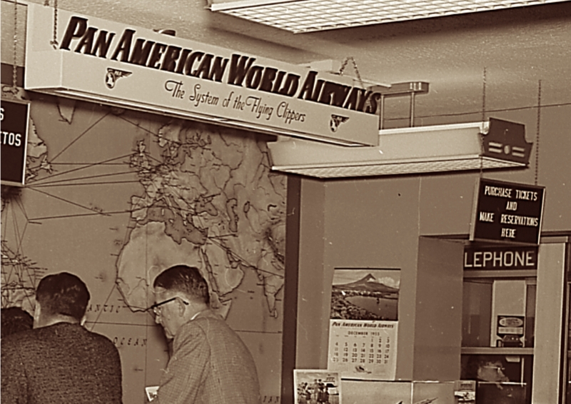 1950s A Pan Am airport ticket counter.
