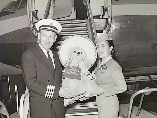 1950s Pan Am pilot & Stewardess pose with a stuffed bear prior to boarding a 707 Clipper.