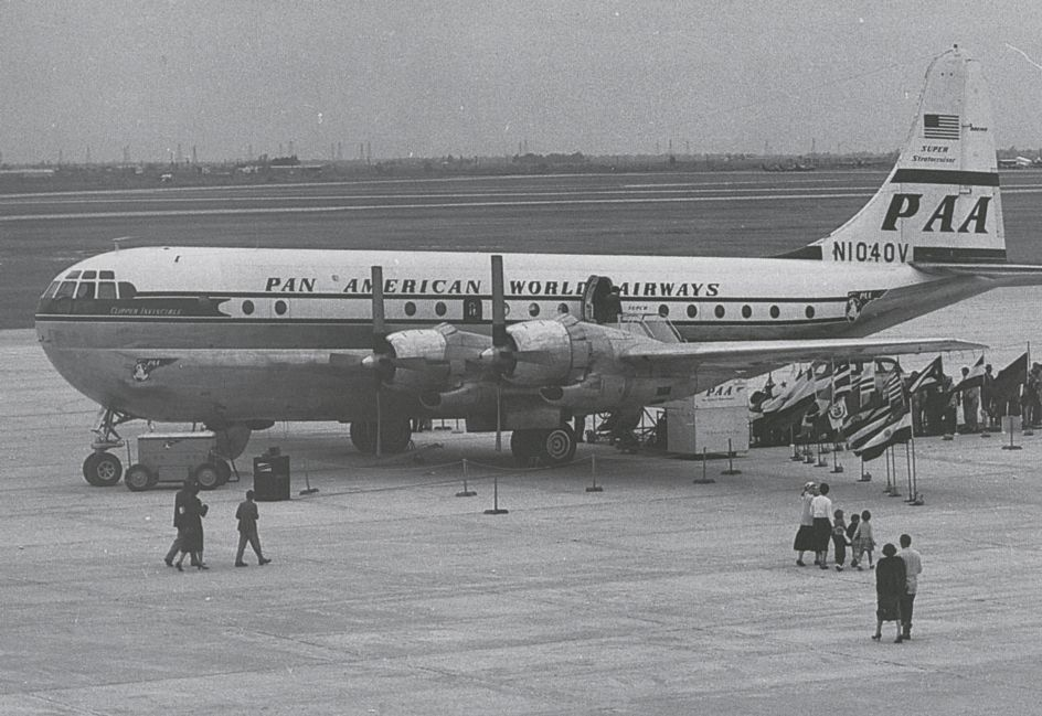 1950s Ground tours were occasionally offered to non travelers.  Seen here a Pan Am Boeing 377 Stratocruiser is on display.