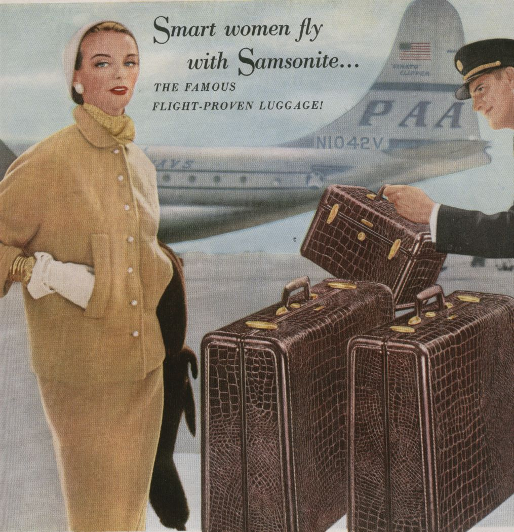 1953 a Samsonite ad with a Pan Am Boeing 377 in the background.