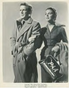 1954 Joan Collins and Van Johnson in a publicity shot complete with Pan Am flight bag.