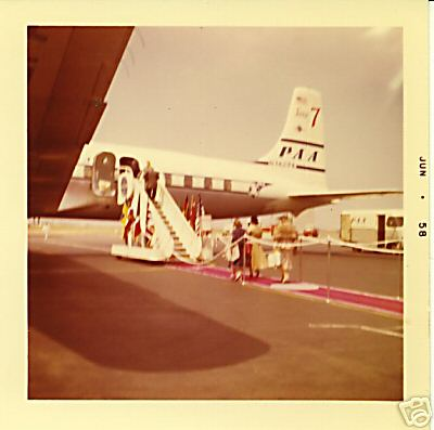 1958 A Red carpet boarding of of a Pan Am DC7.