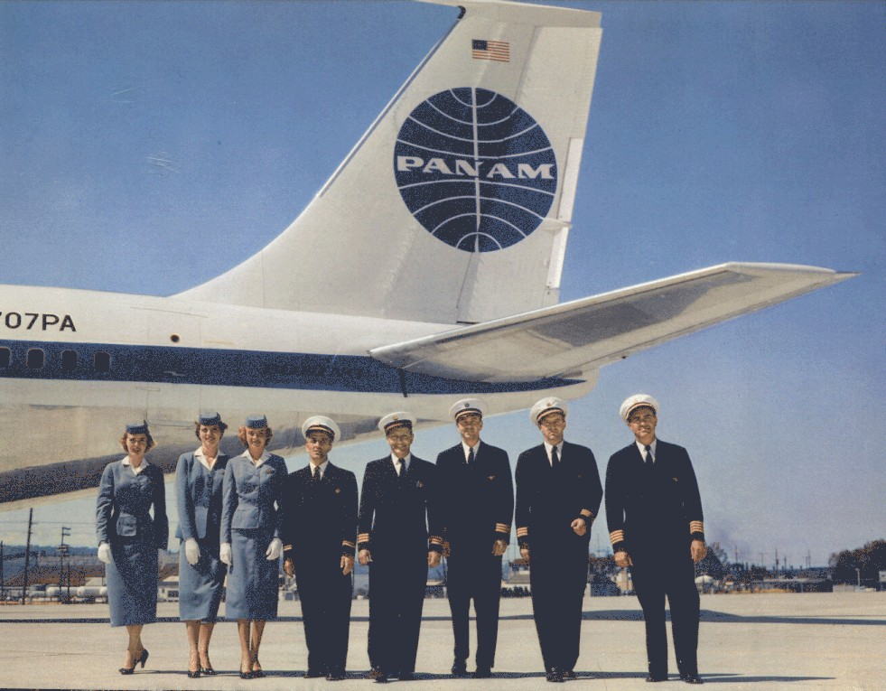 1958-A full crew compliment pose by the tail of newly delivered N707PA Clipper America a Boeing 707.