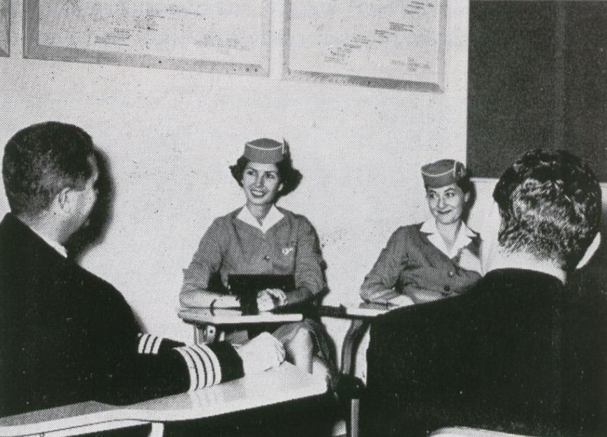 1959 Before departing from a home base it was customary for Pan Am crews to meet for a briefing.