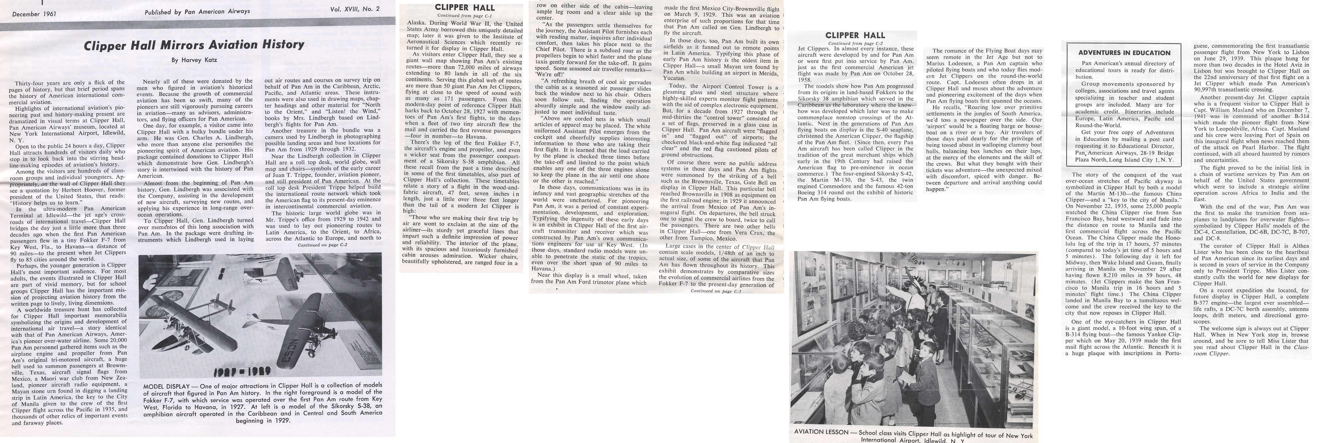 1961, December Article on Pan Am Clipper Hall at the Pan Am Airport Terminal in New York City.