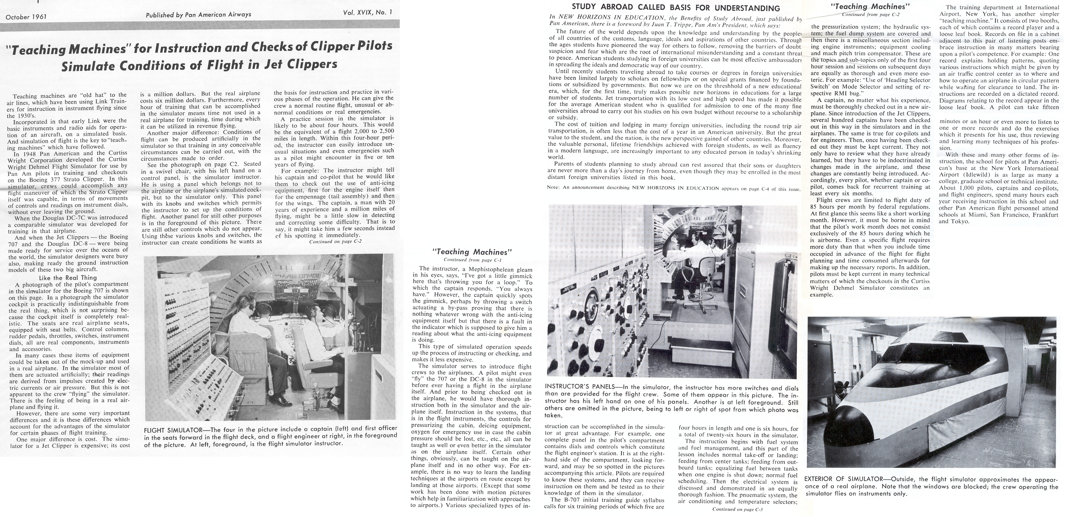 1961, October,  Information on first generation jet training simulators.