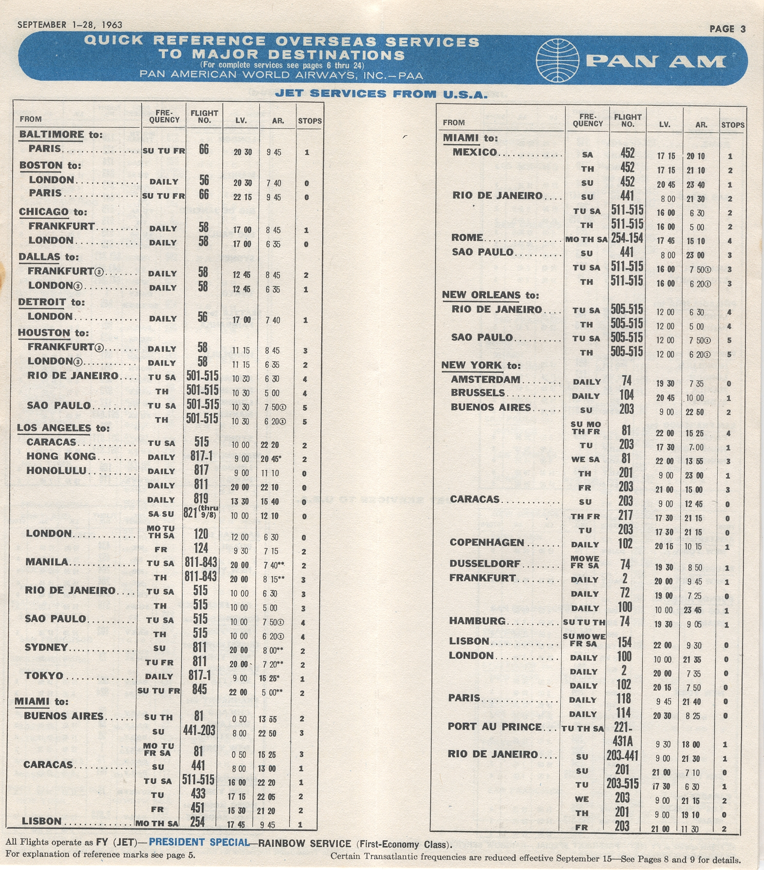 1963, September 1-30  Quick Reference Schedule page 1.