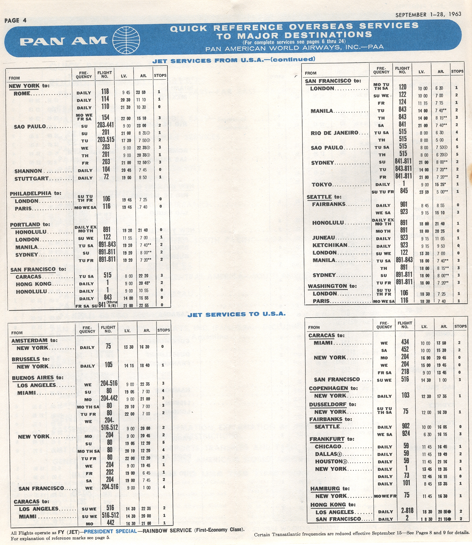 1963, September 1-30  Quick Reference Schedule page 2.