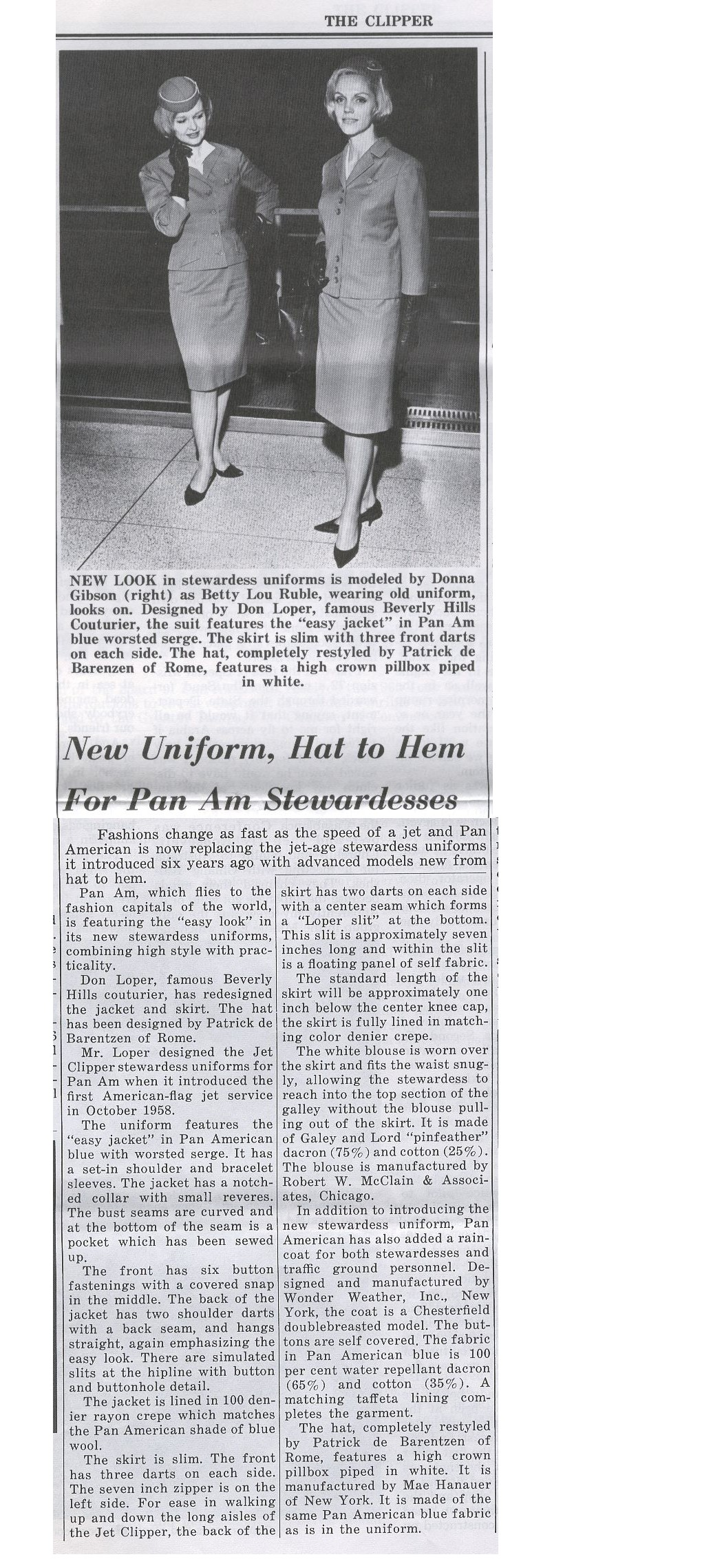 1965, March,  Article on new Flight Attendant uniforms.
