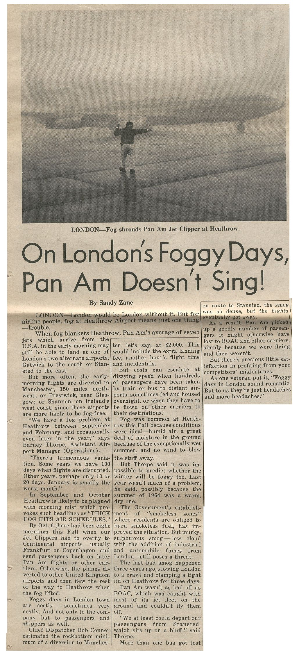 1965, November  1,  Article on fog delays at London Heathrow Airport.