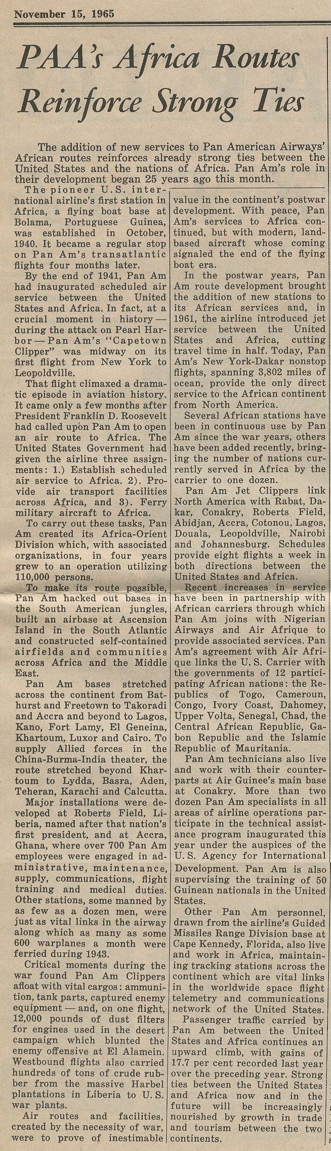 1965, November 15, Article on Pan Am Africa Service.