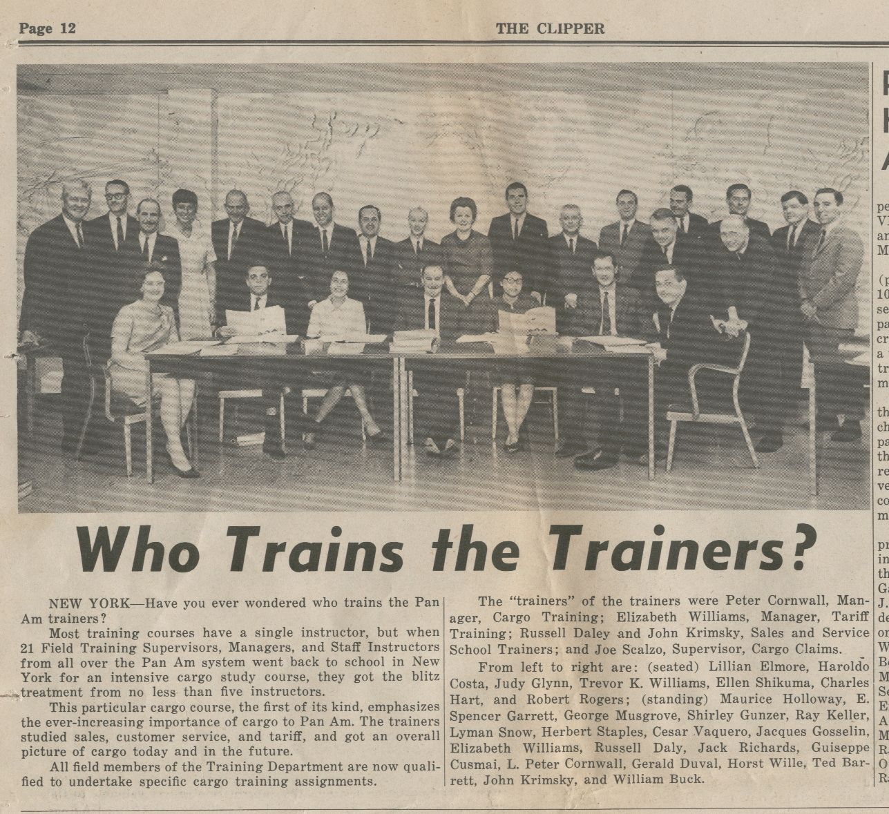 1966, June 15, Training staff from the Pan Am Building in New York City.