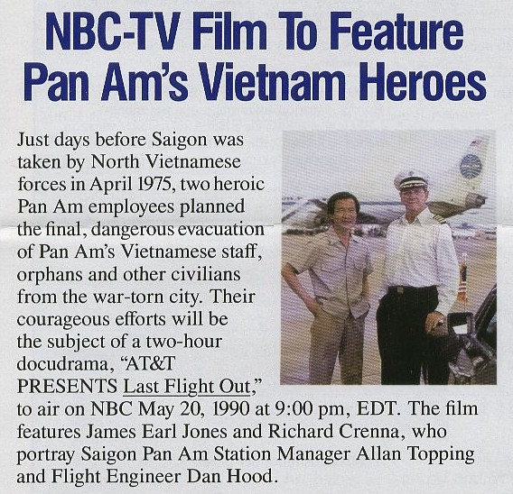 1990, May 20, Article on the film Last Flight Out which was based on actual events surrounding the last Pan Am flight out of Saigon in 1975.