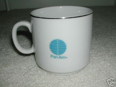 A 1970s Pan Am mug in the Helvetica style.