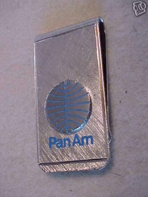 A 1970s Pan Am money clip in the Helvetica style