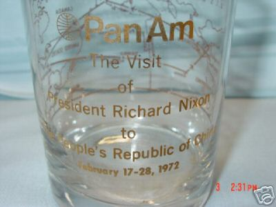 A promotional glass in the Helvetica style from the February 1972 visit of President Nixon to the People's Republic of China.