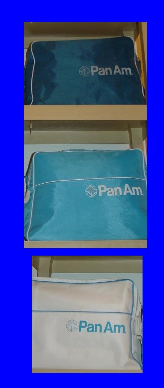 Early 1970s Pan Am flight bags with the Helvetica stle logo.
