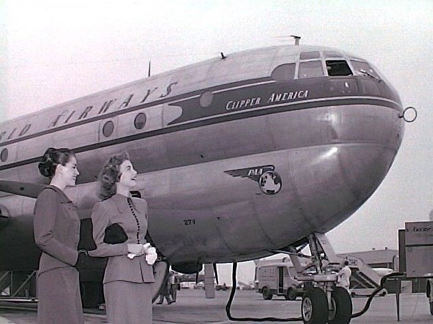 1949 Miss.Peggy Dow & Ann Pearce pose with Pan Am Beoing 377
