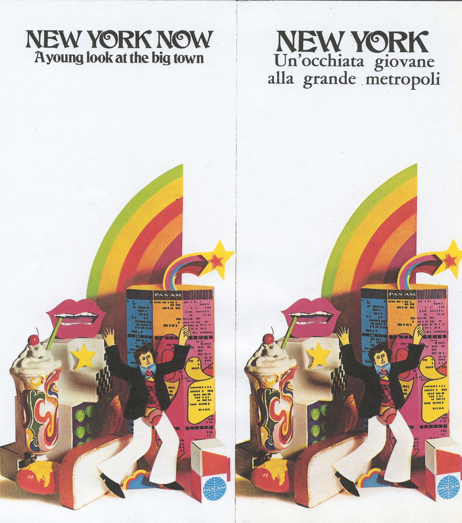 Sample brochure covers promoting New York early 1970s