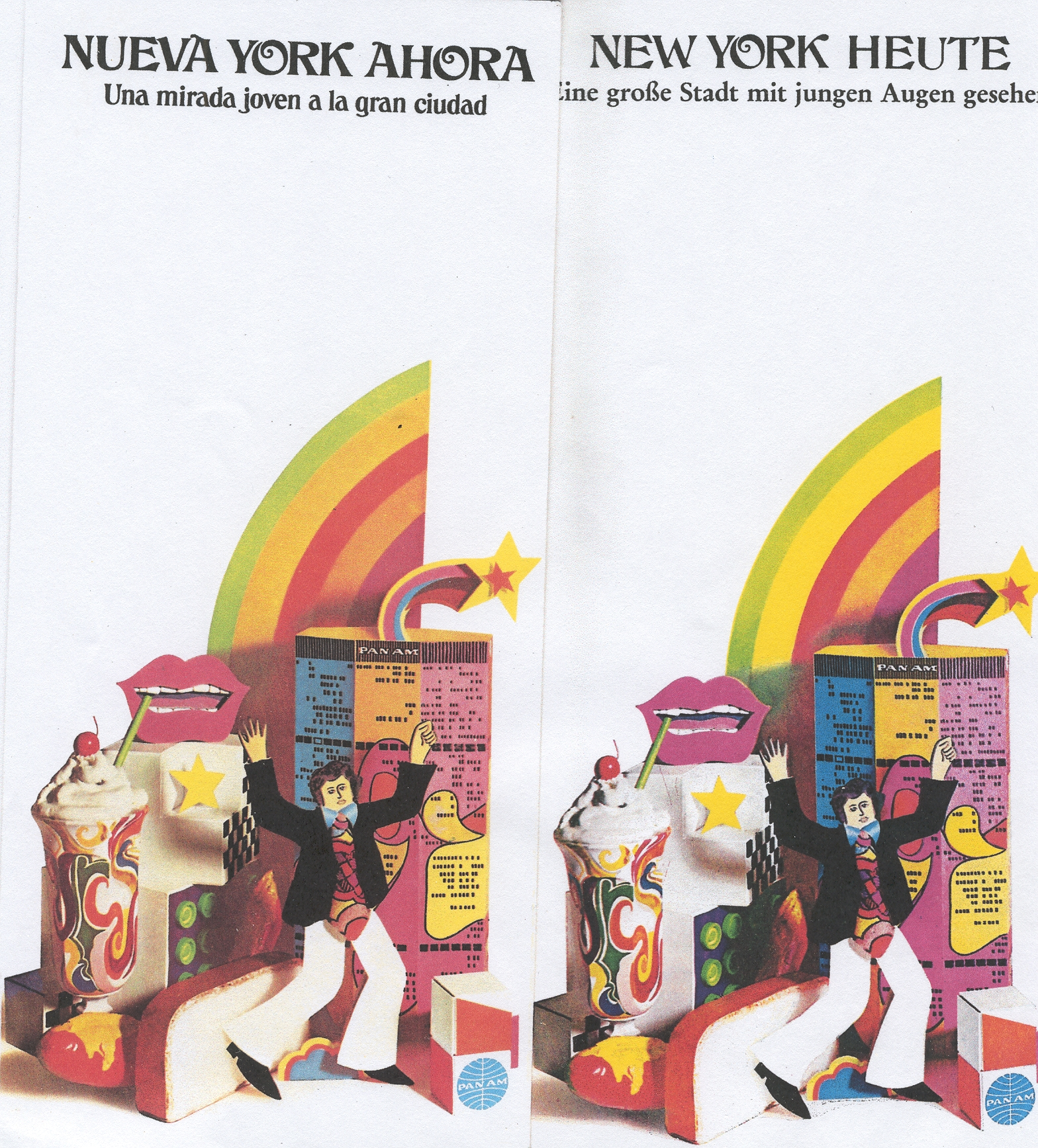 Sample brochure covers promoting New York in Spanish from the early 1970s