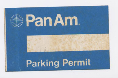 A 1970s Employee parking permit in the Helvetica style.