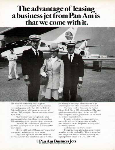 A 1971 Ad for Pan Am's Business Jet Division targeted at large corporations.