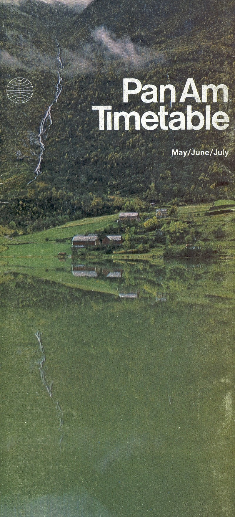 A Norwegian fjord was featured on the Apr30 - Jul 31 1972 Pan Am timetable in the Helvetica style.