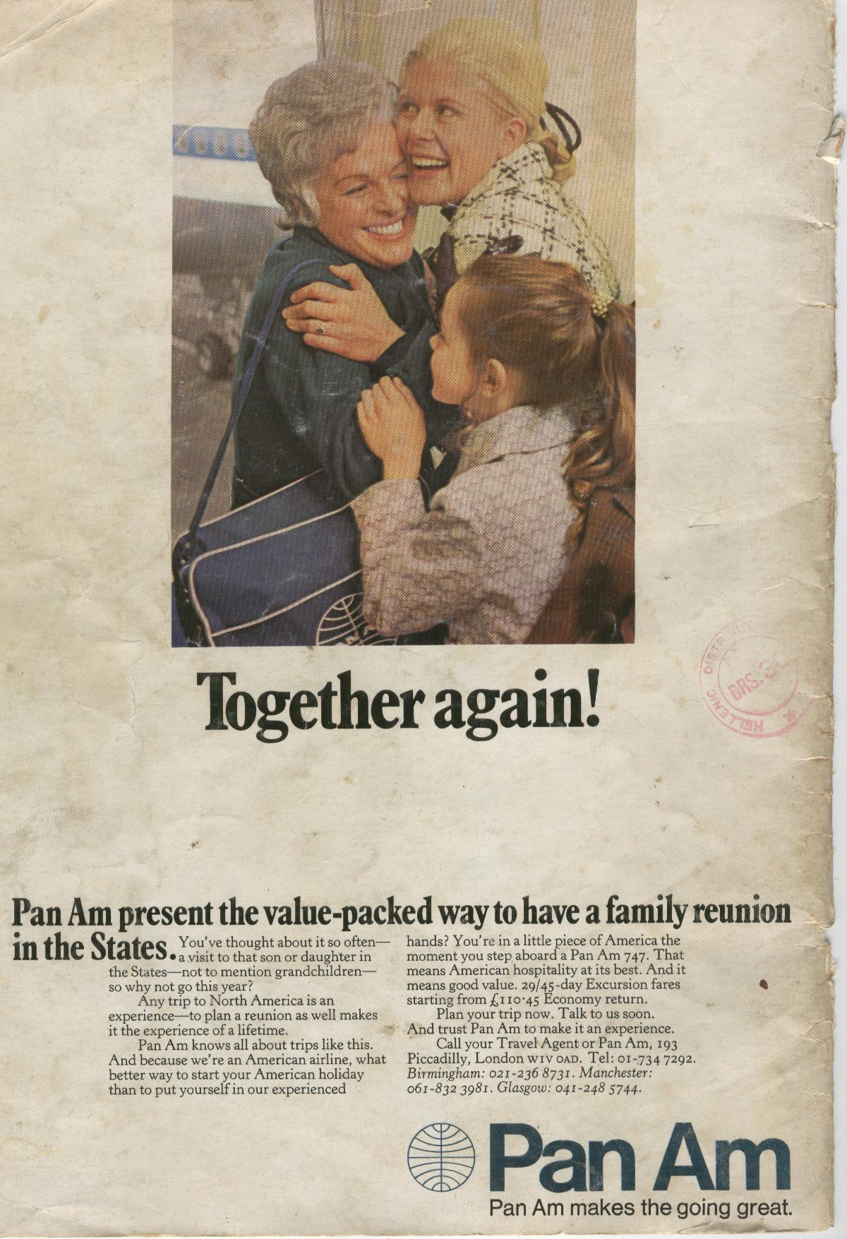 A1972 Pan Am ad promoting family reunions .