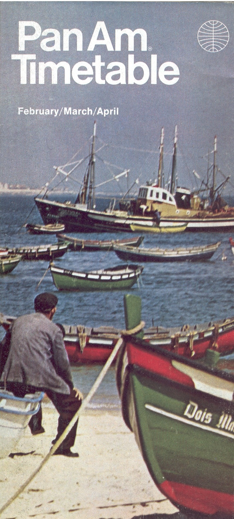 A Portuguese fishing scene was featured on the Feb1 - Apr 29 1972 Pan Am timetable in the Helvetica style.