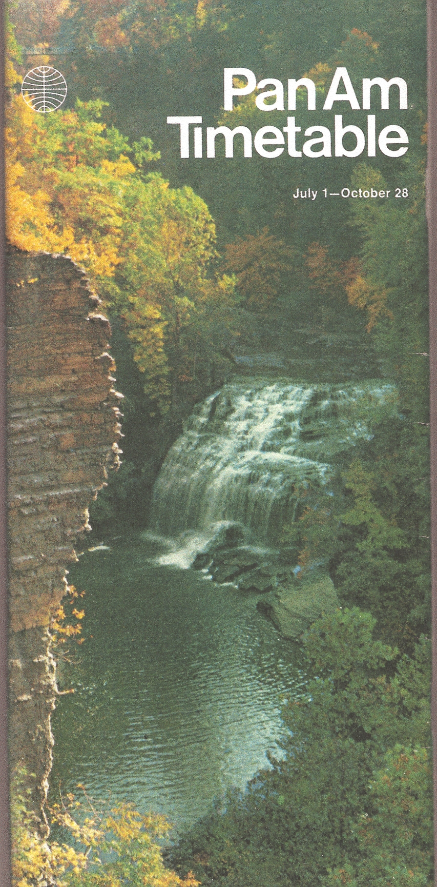 A water scene from New York State was featured on the Jul 01 - Oct 28, 1972 Pan Am timetable in the Helvetica style.