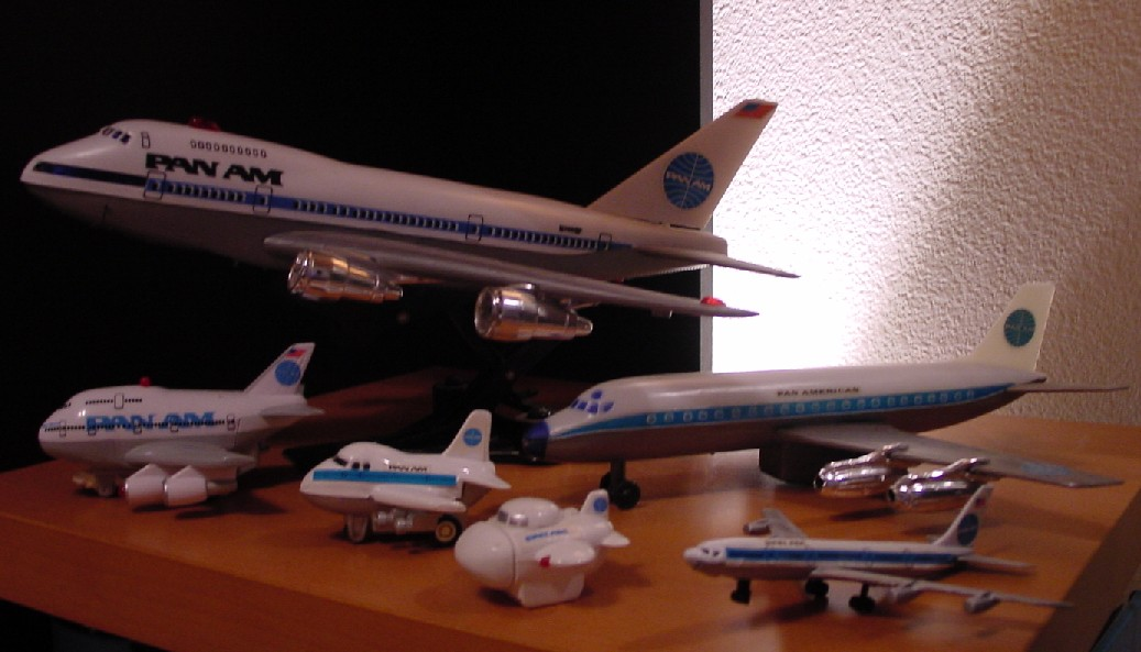Through the years various manufacturers produced toy models for children.  Seen here are a combination of Boeing 747models and one DC 8.